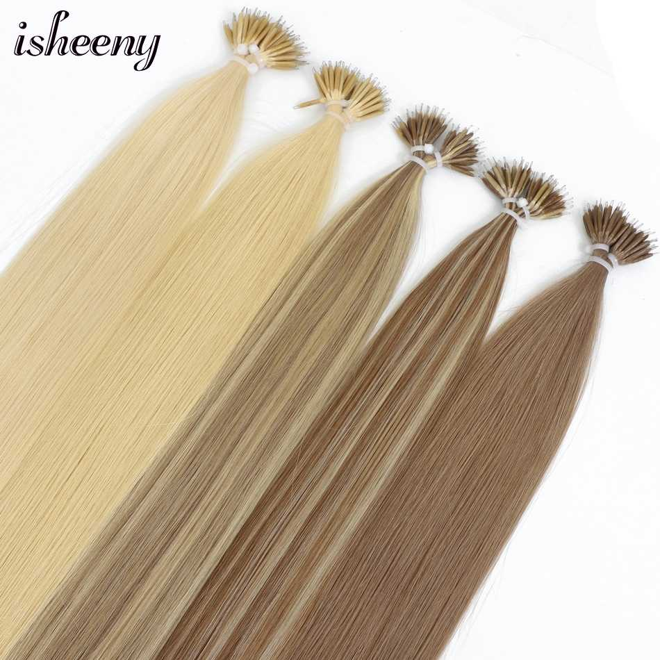 "Isheeny 18"" Nano Ring Hair Extensions Blonde Premium Remy Micro Beads Link Hair 50s 100s 200s Brown European Hair On Tips"