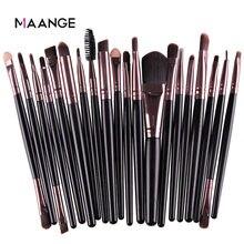 Maange 3/20 pçs conjunto de escova de maquiagem pro sombra mistura fundação pó sobrancelha escova dupla cabeça escova beleza compõem kits