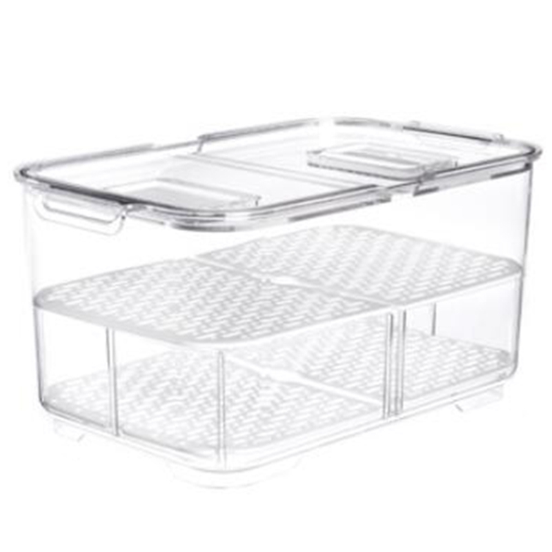 Double Sealed Drain Storage Box Fruit Vegetable Refrigerator Containers With Lid