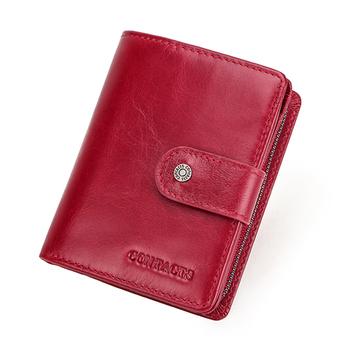 Contact's Genuine Leather Wallets Women Men Wallet Short Small Rfid Card Holder Wallets Ladies Red Coin Purse Portfel Damski 14