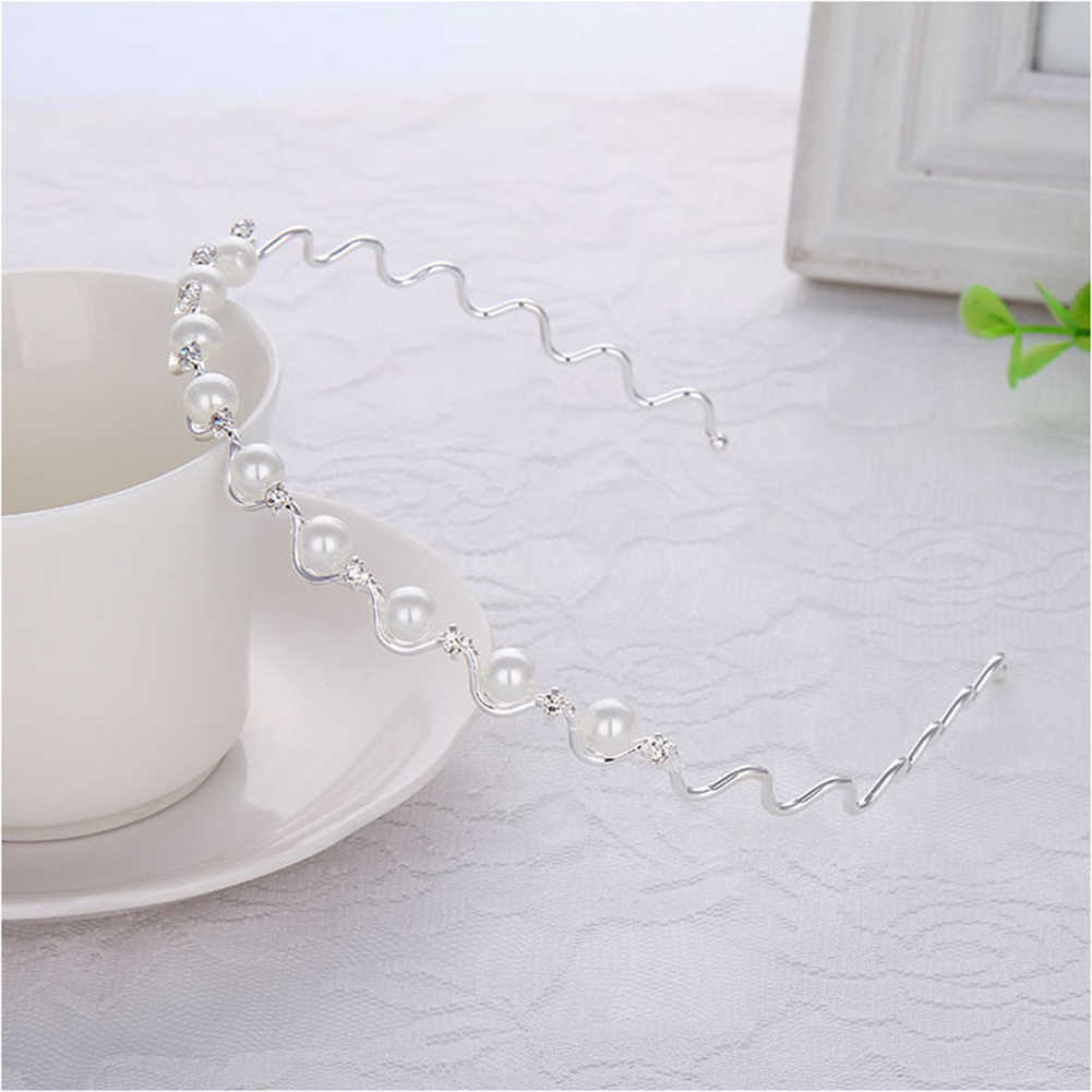 1PC Fashion New Women Girls Pearl Crystal Wave Hair Bands Cute Hair Hoop Head Wear Hair Style Tools Accessories Gift Headband