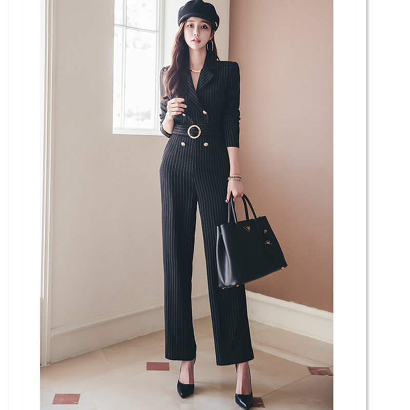 Spring Rompers Women Striped Jumpsuit Autumn Elegant Office Lady Work Wear Long Sleeves Playsuit Tracksuit Long Pants