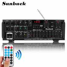 SUNBUCK 2000W 5,0 bluetooth 2 canales de Audio amplificador HiFi estéreo 326BT DC 12V 12V 220V AV Amp altavoz reverberación equilibrio