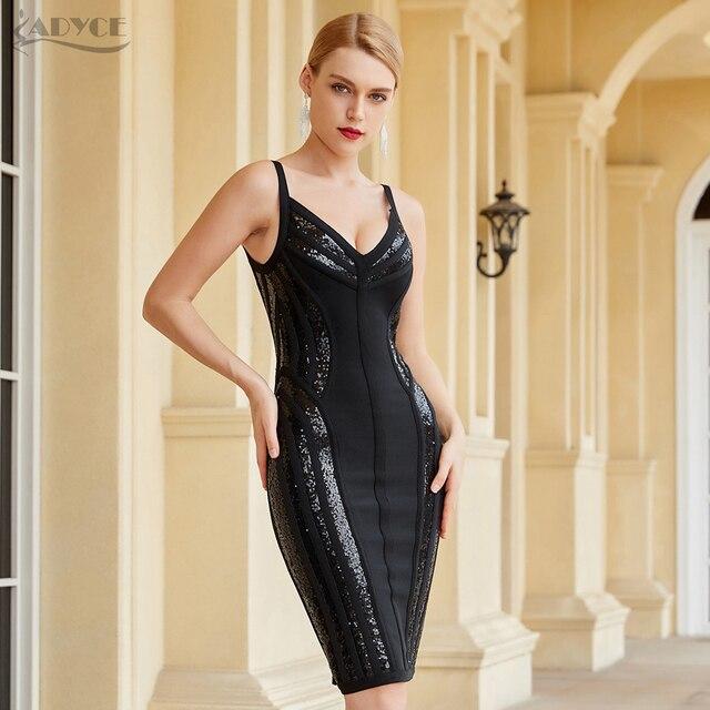 Adyce New Summer Women Black Sequins Bodycon Bandage Club Dress Sexy V Neck Spaghetti Strap Celebrity Runway Party Dress Vestido