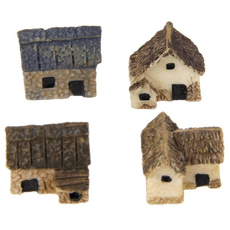 Promotion! Set 4 Miniature Dollhouse Bonsai Craft Fairy Garden Thatched Hut Decor