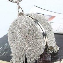 Sliver Diamonds Rhinestone Round Ball Evening Bags For Women 2018 Fashion Mini T
