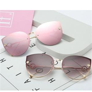 2020 Metal Luxury Brand Designer Lady Cat Eye Sunglasses Women Party Vintage Rimless Gradient Sun Glasses For Female UV400