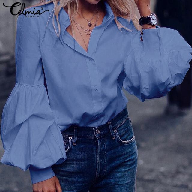 Top Fashion 2019 Celmia Women Long Puff Sleeve Blouses Shirts Lapel Buttons Casual Loose Solid Party Work Blusas Mujer Plus Size 4