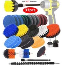 4 pces-31 pces power scrub pads kits de escova de limpeza de cozinha limpeza multiuso esfregando escovas de broca elétrica sem fio