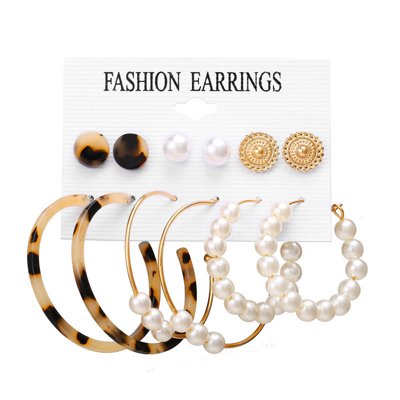 H4eb52b7889704b79bb3f8ab45166d50ep - IF ME Fashion Vintage Gold Pearl Round Circle Drop Earrings Set For Women Girl Large Acrylic Tortoise shell Dangle Ear Jewelry
