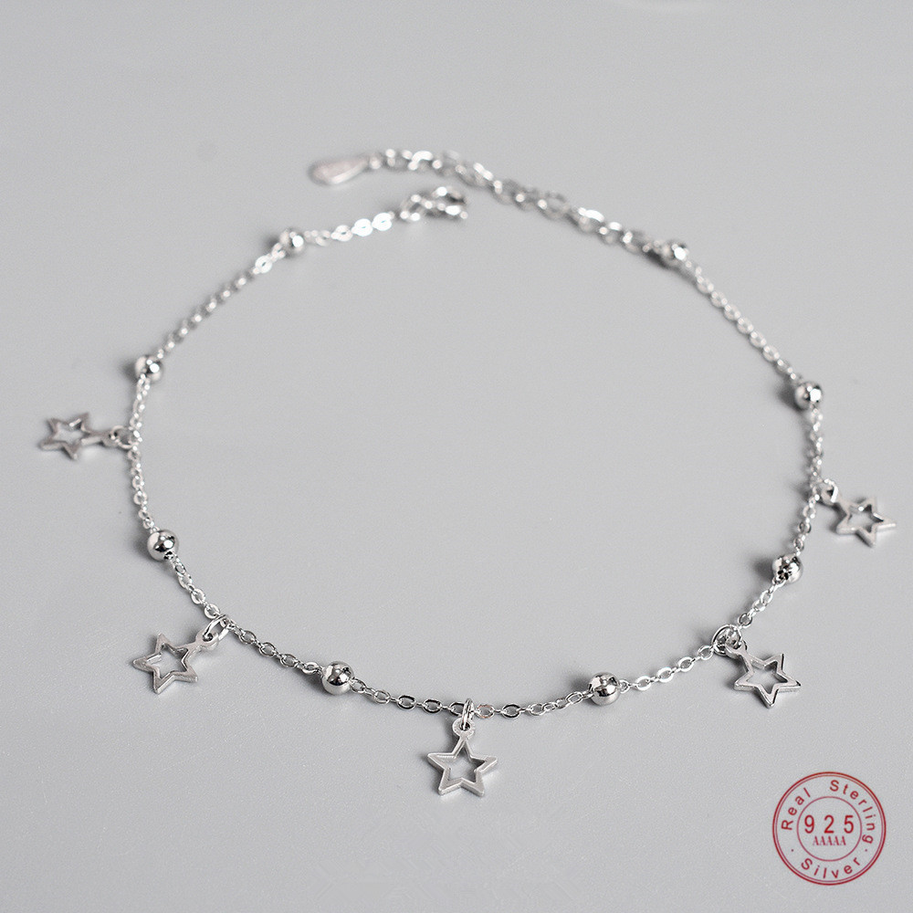925 Sterling Silver Simple Star Pendant Anklet Women Summer Ocean Beach Casual Jewelry Accessories Girlfriend Gift
