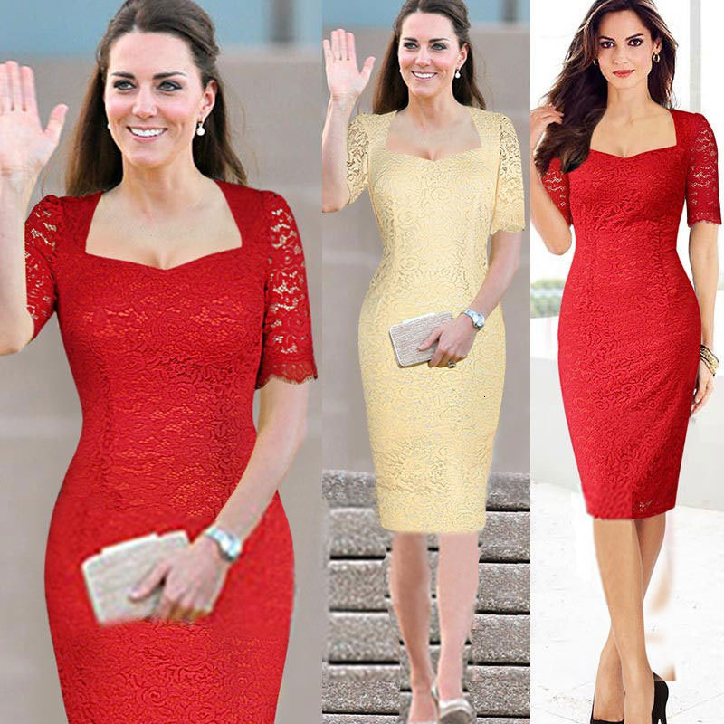 BGW Lace Cut Out Mother Of The Bride Dress Short Sleeves Zipper Back Tow Colors Red Beige Wedding Guest Mom Dress 2020