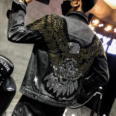 100%real Men Rhinestone Eagle Jean Jacket Hip Top/short Tuxedo Jacket/stage Performance/ASIA SIZE