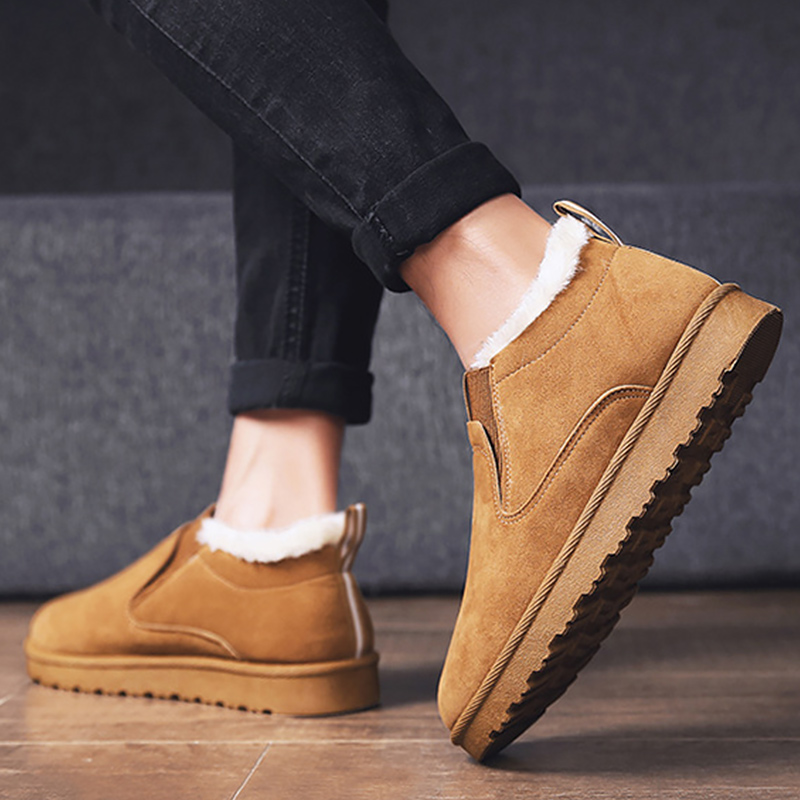 Women 39 s Ankle Boots Suede Elastic Band Snow Boots Woman Plush Comfortable Winter Shoes Women Solid Rubber Hot Sale in Ankle Boots from Shoes