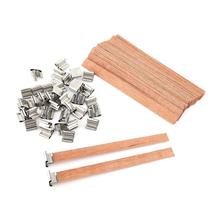 40Pcs 8mm 12.5mm 13mm Wooden Wick Candle with Sustainer Tab Candle Wick Core for DIY Candle Making Pick Supply Soy Parffin Wax