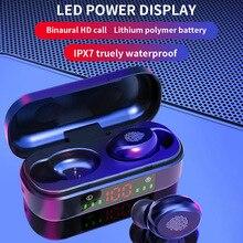 Auricolari Wireless TWS auricolare Bluetooth 5.0 auricolari impermeabili Stereo 9D bassi cuffie vivavoce con custodia di ricarica per microfono