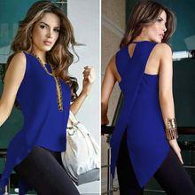 Женская блузка без рукавов с круглым вырезом