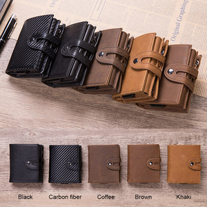 Image 5 - DIENQI Vintage Leather RFID Blocking Card Holder Mens Smart Business Wallet Big Bank Creditcard Holder Pocket Case Protector Bag