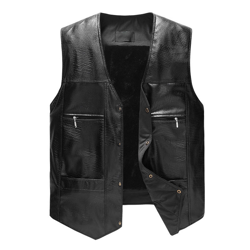 2019 New Mens PU Leather Vest Fashion Casual Waistcoat Thick Warm Male Shoulder Hot Sale Overcoat Plus Size Vests Slim Outwear