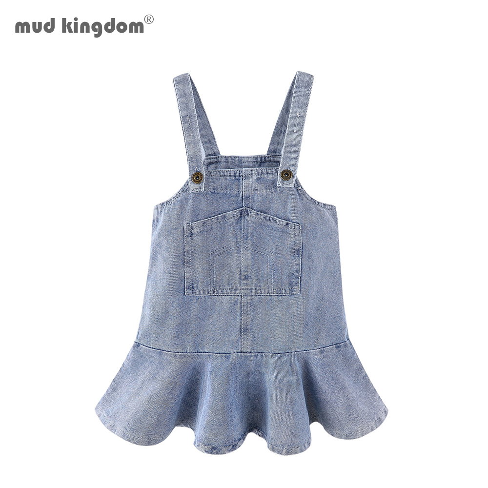 Mudkingdom Toddler Girl Dresses Denim Overalls Girl Skirtall Jumper Plain Pinafore Mini Dress Toddler Girl Spring Clothes 1