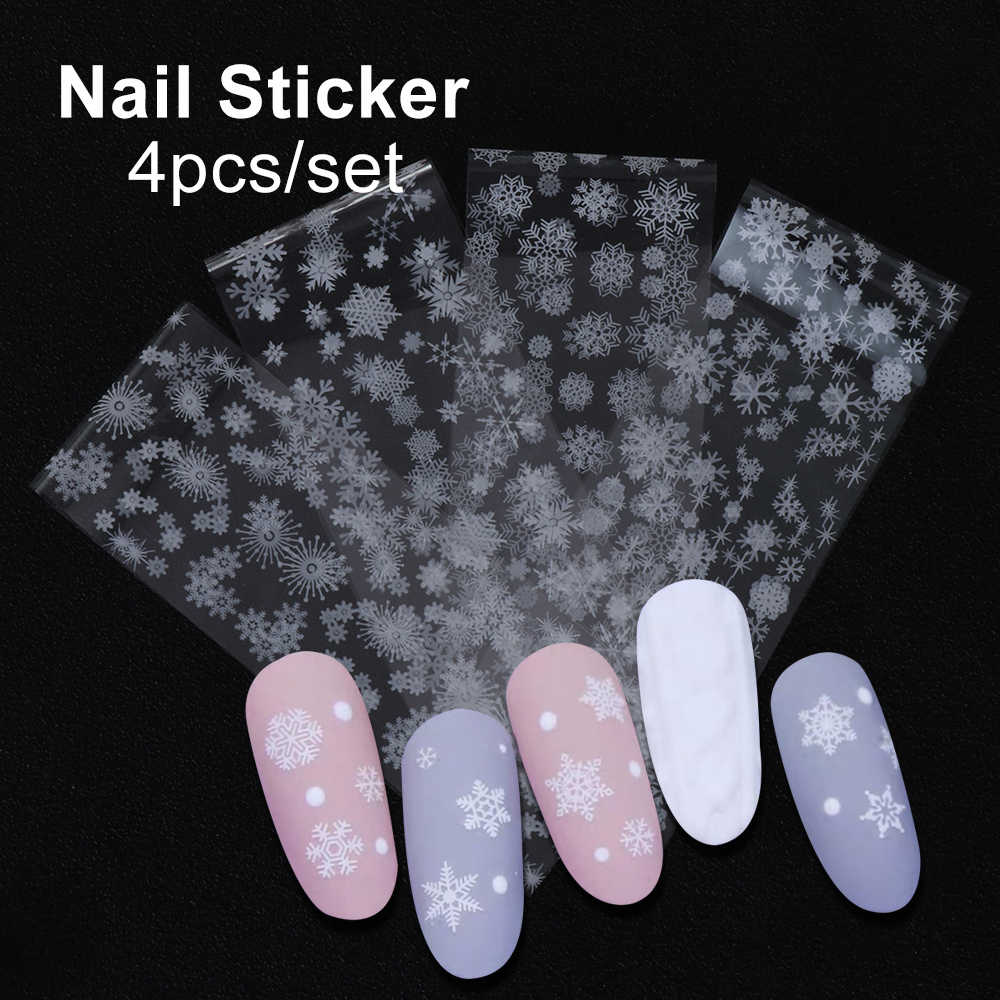 4pcs/Pack White Snowflakes Nail Transfer Foils Sliders Adhesive Stickers Decals Manicure Winter Romantic Nail Art Decorations
