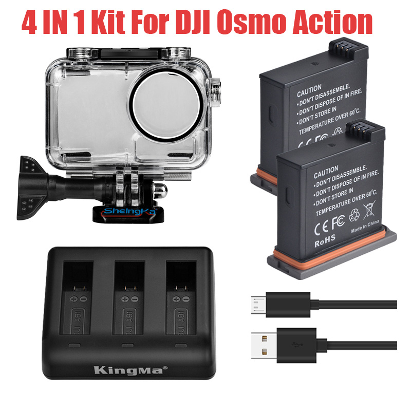 4 In 1 Set For DJI OSMO Action 2pcs Lithium Battery+3-Way Charger+Diving Waterproof Protective Housing Case For DJI Accessories