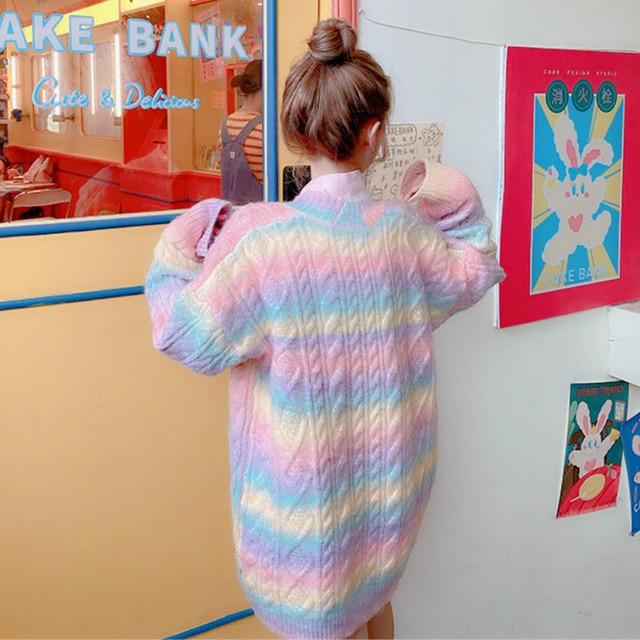 Rainbow Knitted Cardigan Women Autumn winter Sweet Kawaii Sweater Coat Female Long Korean Button Down Cardigan Fall 2020 Women 6
