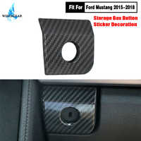 For Ford Mustang Armrest Storage Box Switch Panel Cover Trim Car Interior Carbon Black Button Glover Frame 2015 2016 2017 2018