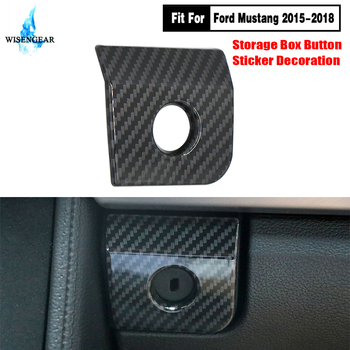 For Ford Mustang Armrest Storage Box Switch Panel Cover Trim Car Interior Carbon Black Button Glover Frame 2015 2016 2017 2018 image