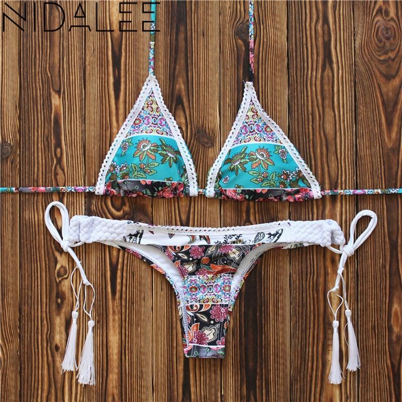 Bikini 2019 Floral Women Swimsuit Swimwear Female Brazilian Bikini Set Sexy Lace Push-up Bathing Suit Bandage Beachwear Biquini