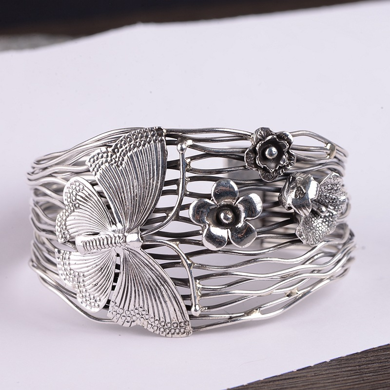 FNJ Butterfly Statement Bangle 925 Silver 60mm Big Original Pure S925 Sterling Silver Bangles For Women Jewelry Fine Flowers