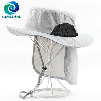 Sombrero de protección solar CAMOLAND UV para hombres y mujeres, 2 en 1, impermeable, sombrero de cubo con solapa para el cuello, gorra transpirable para pesca, senderismo, Boonie