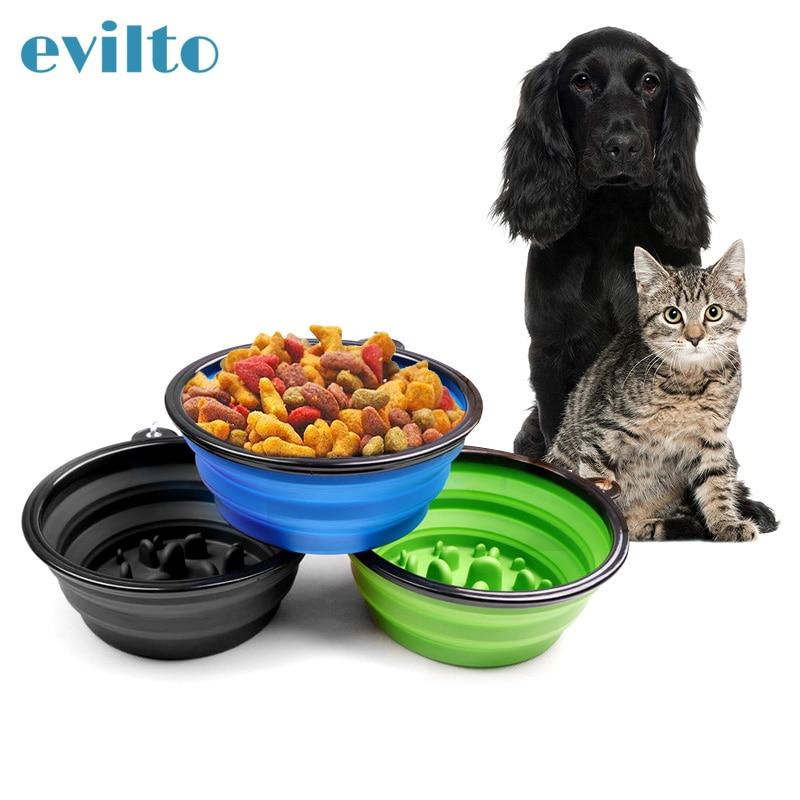 Evilto 折りたたみシリコーン犬のボウルポータブル犬遅い食べるボウルトラベル子犬食品容器供給装置の水皿