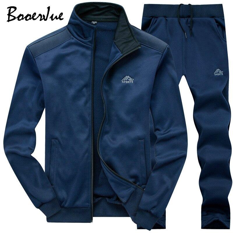 Sweat terno de treino dos homens da moda conjunto dois pieces zíper quente moletom jaqueta + sweatpants moleton masculino dos homens jogger define