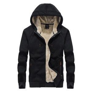 Image 3 - 2019 winter thick lambskin velvet hooded Sweatshirts casual men warm jackets coats hoodies streetwear one piece plus size L 8XL