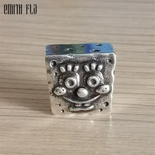 Square Charms Beads Silver 925 Original Fit Bracelet Jewelry Vintage Bead for Making Pendants