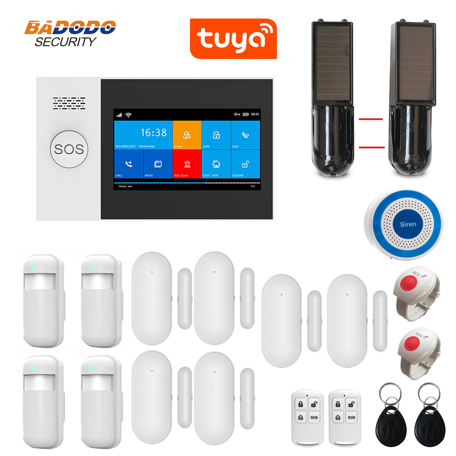 WiFi GSM GPRS Tuya APP Intelligent Home Burglar Alarm System 4.3 Inch Touch Screen Solar Infrared Beam Sensor Optional