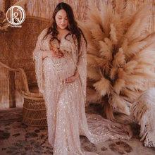 Don & Judy – robe à franges à paillettes dorées, tenue de maternité pour séance Photo, robe de soirée, style Boho, 2020