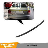 For Audi A6 C6 Spoiler 2005 2011 High Quality Carbon Fiber Rear Trunk Roof Spoiler Wing Car Styling