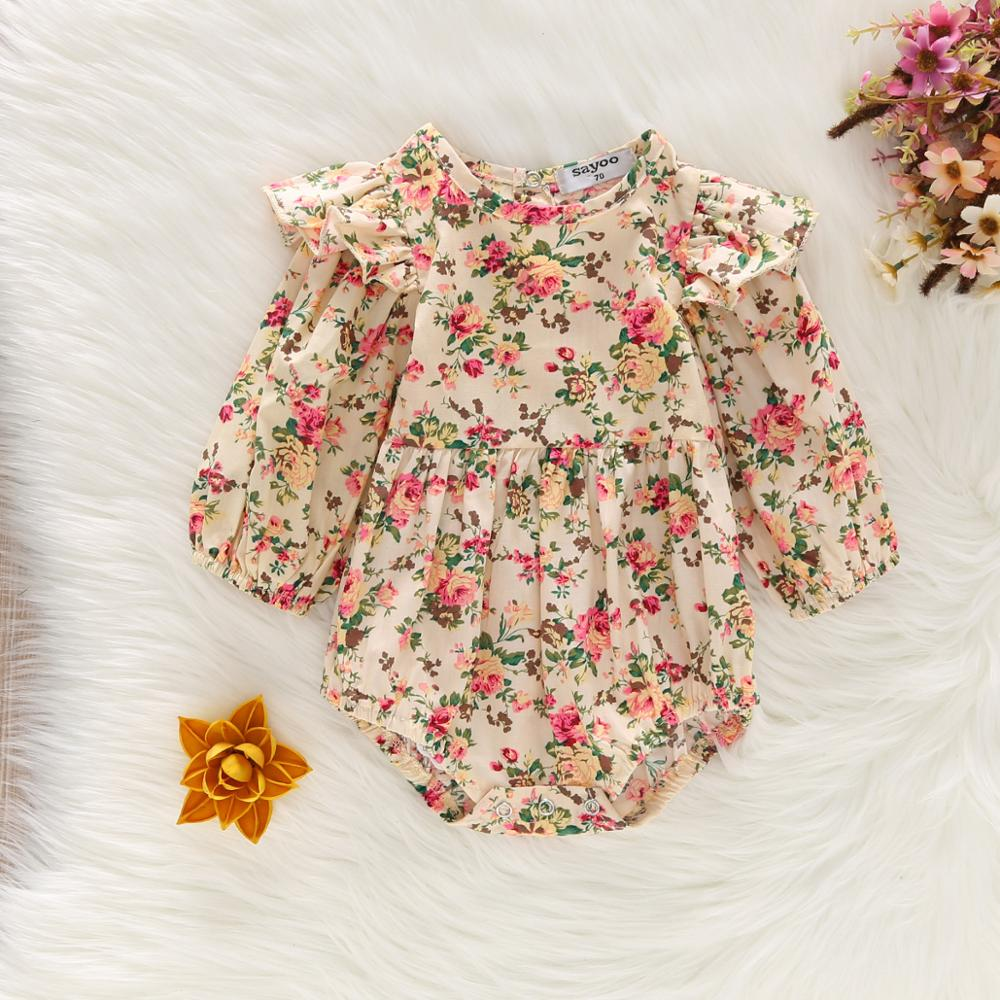 Girls Cotton Flower Printing Hari Jumpsuit Triangle Climb Long Sleeve Double Breasted Baby