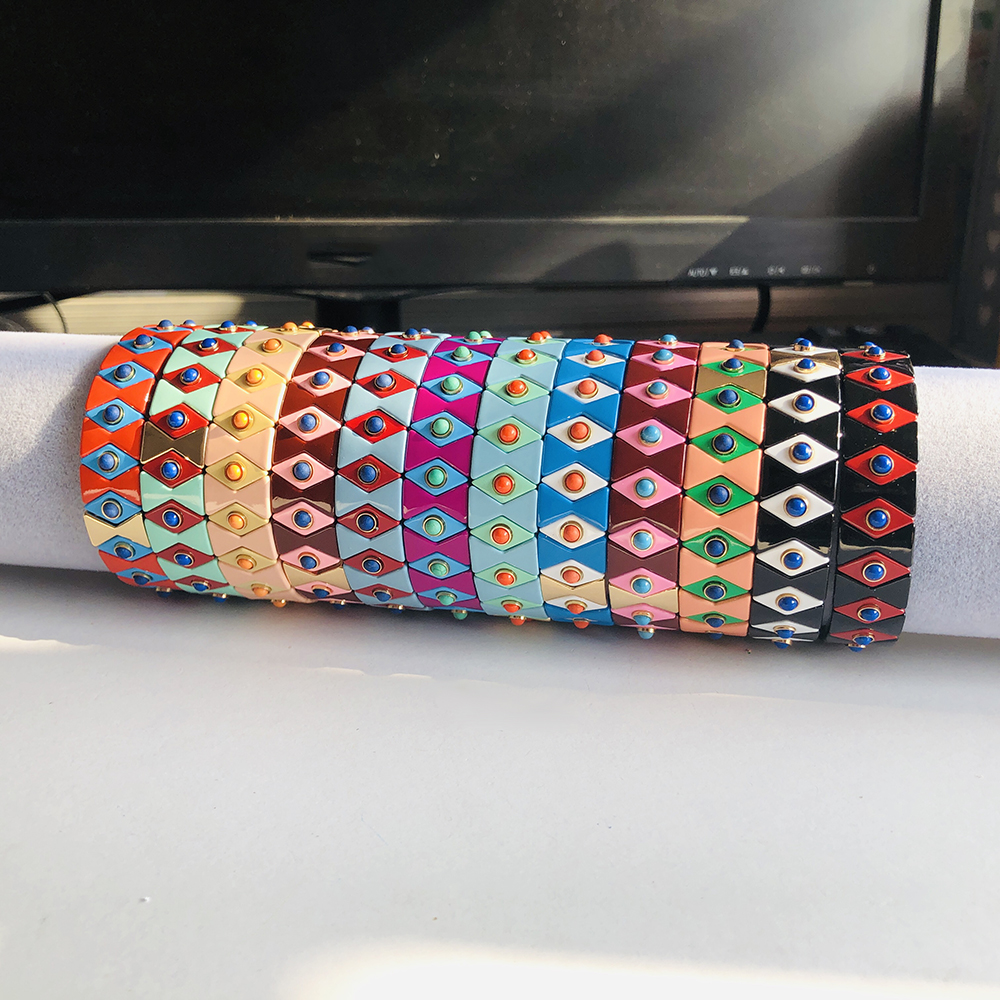 12 Colors Enamel Stretch Bracelets for Women Stacking Casual Bracelet Tide Brand Customer Evil eye Rainbow Tile Beads Bracelet