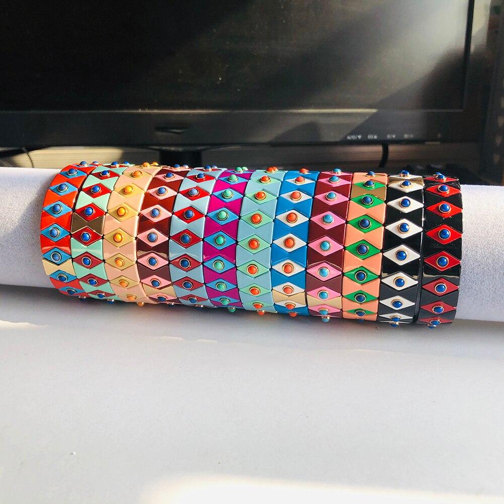 12 Colors Enamel Stretch Bracelets for Women Stacking Casual Bracelet Tide Brand Customer Evil eye Rainbow Tile Beads Bracelet