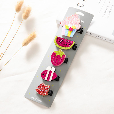 1 Set=5 Pcs Baby Girl Flower Bowknot Hair Clips for Girls  Hairgrips Hair Accessories Kids Headdress Hairpin Hair Barrettes