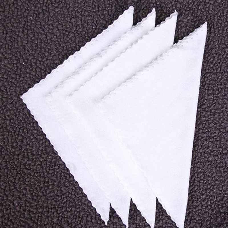 10 قطعة الأبيض مربع منديل Wmbossed الألياف مناديل منديل للفندق مطعم قطع حافة الدانتيل تنظيف خرقة