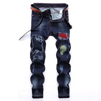2020 New Fashion Denim Pants Jeans Men Ripped Biker Skinny Jeans Frayed Destroyed Trousers Casual Denim Pants Mens Clothing destroyed fishnet insert fray trim denim skirt