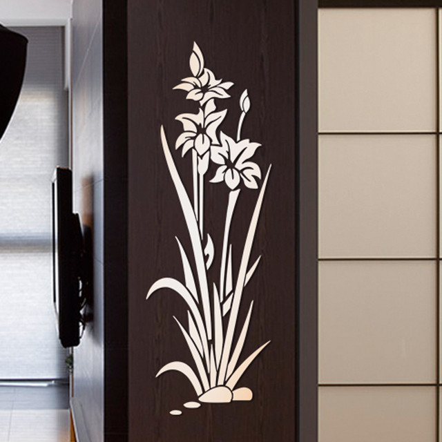 3D DIY Lotus Flower Mirror Wall Sticker Removable Acrylic Art Mural Decal Stickers for Living Room Bedroom Wall Home Decor L*5 5