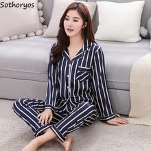 잠옷 세트 여성 실크 턴 다운 칼라 스트라이프 레저 포켓 긴 소매 잠옷 여성 한국어 소프트 2 조각 Homewear 세트