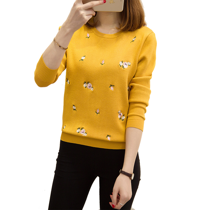 S-3XL New Youth Women's Sweater Autumn Winter 2020 Fashion Elegant Peach Embroidery Slim Girl's Knitted Pullover Tops Female
