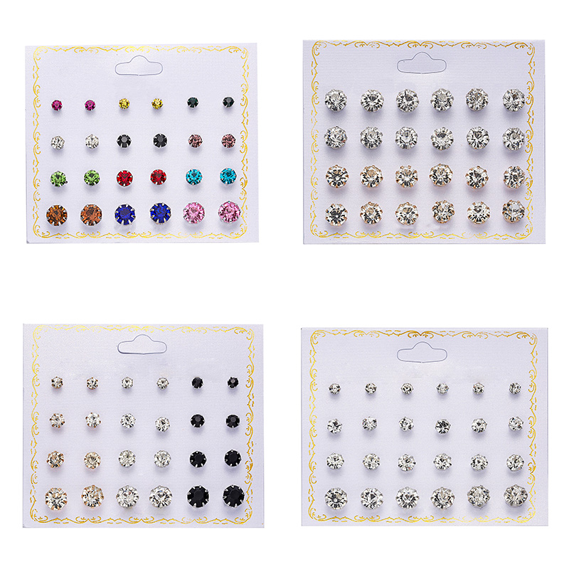 Rinhoo 12pairs Crystal Simulated Pearl Earrings Sets For Women Colorful Round Ear Stud Earrings Wedding Jewelry Box Earrings(China)