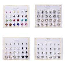 Rinhoo 12 pares de cristal simulado pérola brincos conjuntos para as mulheres colorido redondo orelha brincos do parafuso prisioneiro casamento caixa jóias brincos